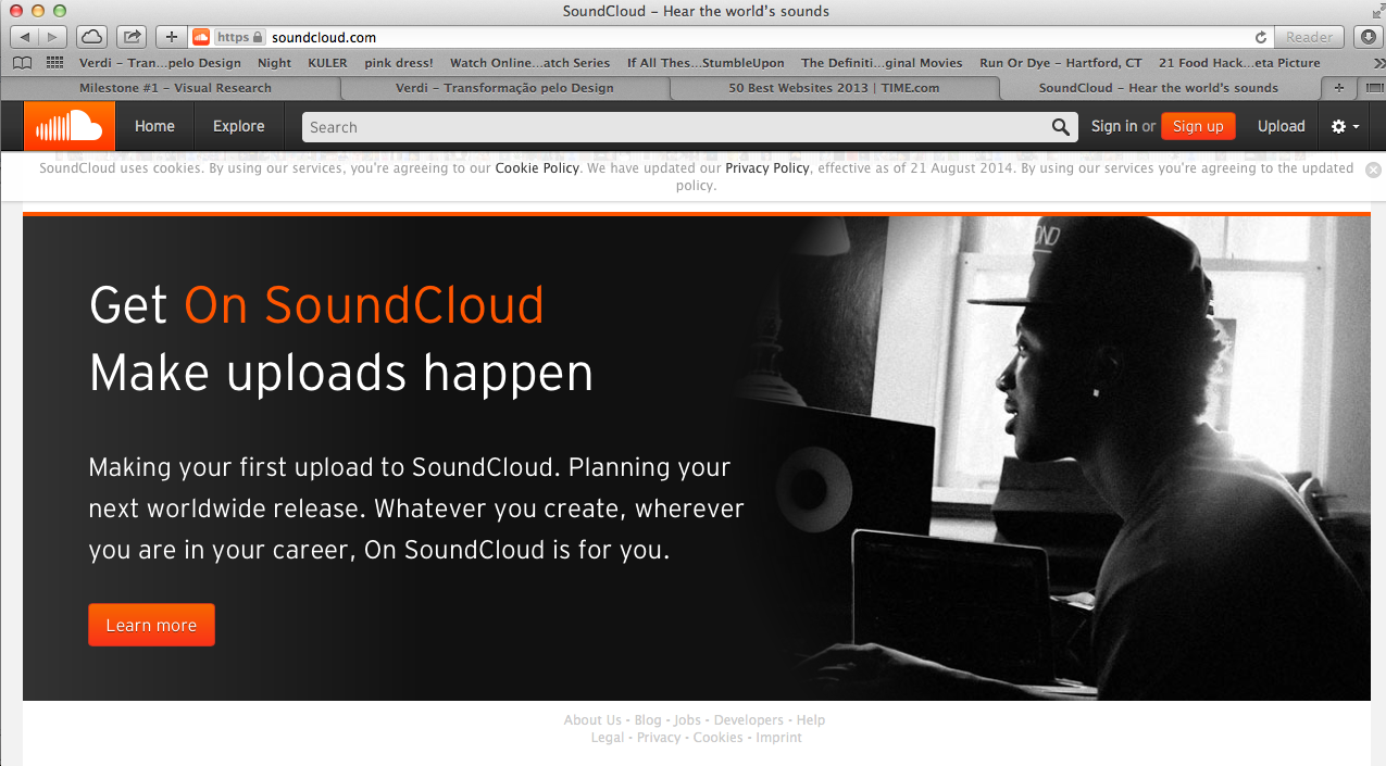 Soundcloud Is Another Website Design I Found Especially Interesting This Page Actually Features The Main Content Text Listen To Free Music Soundcloud Podcasts