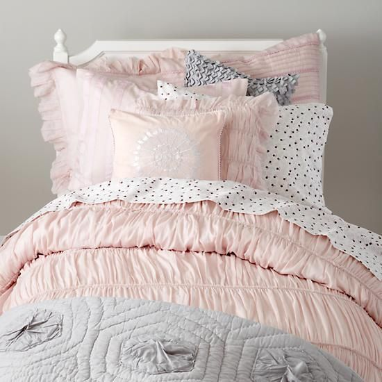 bedding antique chic bedding set the land of nod pink and gray girls bedding girls. Black Bedroom Furniture Sets. Home Design Ideas