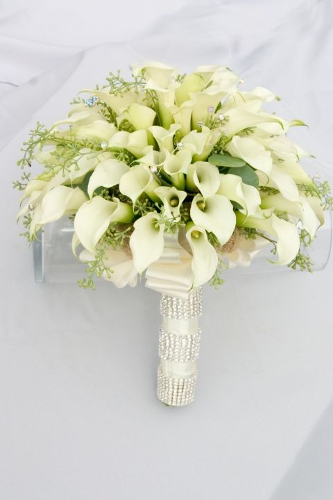 A White Bling Wedding | Calla lilies, Flower bouquets and Bridal ...