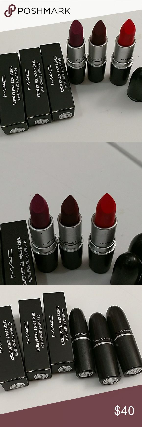 Mac Lustre lipstick lot of 3 pc You will receive 3 pc . Color: Sin 24, Lady danger 11 and Rebel 20 MAC Cosmetics Makeup Lipstick
