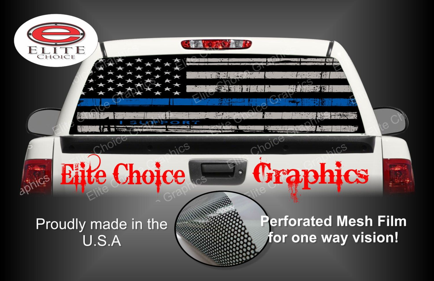 Thin Blue Line Police Flag Rear Window Graphic Tint Decal Sticker - Truck rear window decals