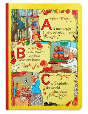 A is een aapje, dat eet uit zijn poot B is de bakker, die bakt voor ons brood C is Charlotte, die drinkt chocola Zie verder: http://www.kinderliedjes.info/html/alfabetisch/liedjesA/a.is.een.aapje.htm