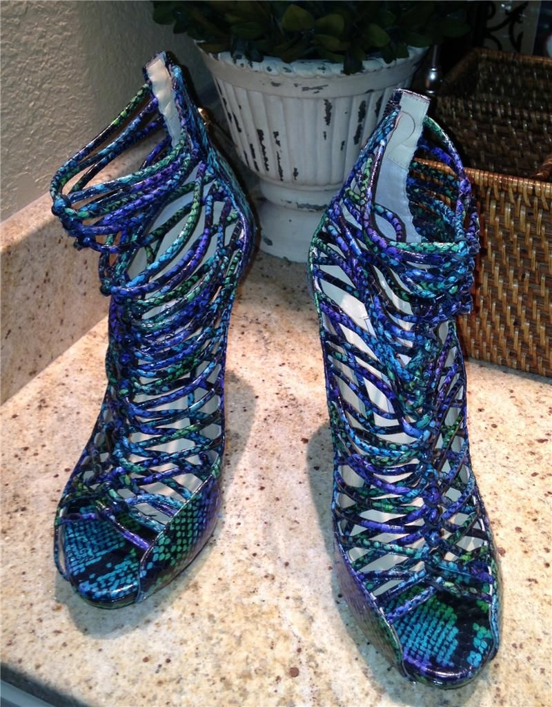 NEW Auth $595+ Jimmy Choo Blue Multi Python Cage Sandals Shoes 40 10
