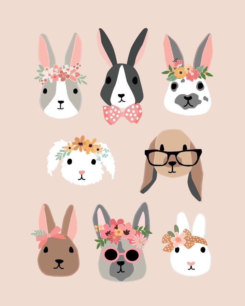 Bunny Rabbit Faces Illustrations With Flower Crowns  art for | Etsy