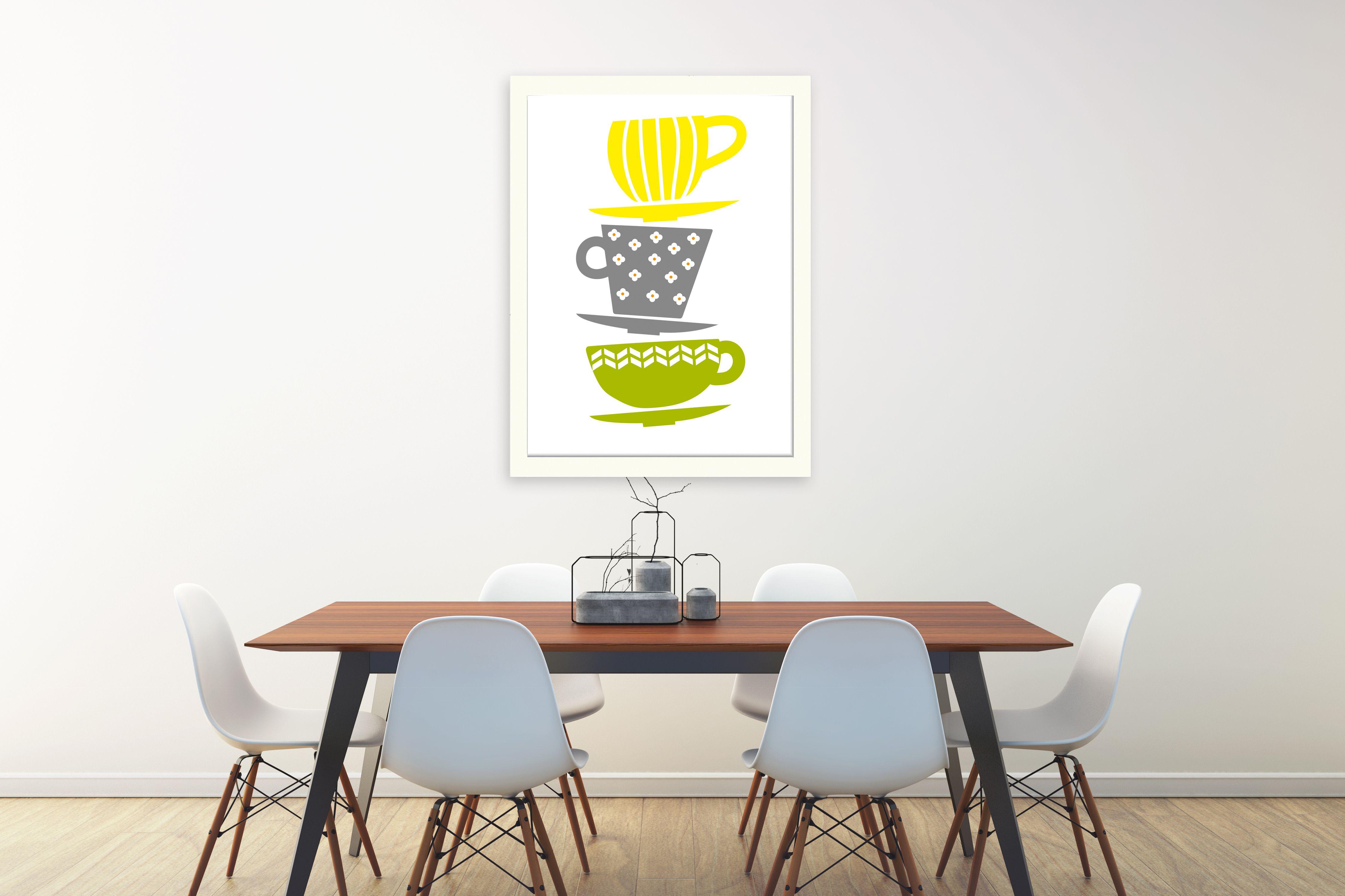Kitchen print tea cups print tea wall art kitchen sign