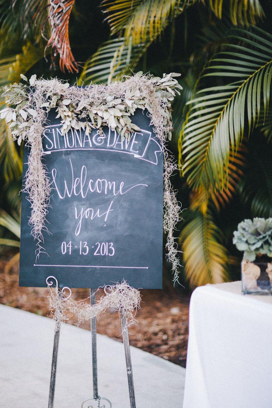 Diy outside wedding decorations  DIY Backyard Wedding in Jupiter from Michelle Kristine  Signage