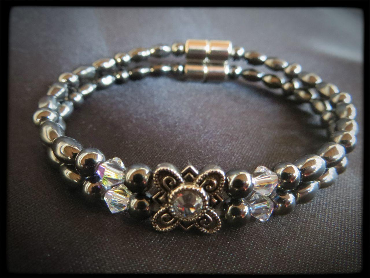 Crystal Flower Double Magnetic Bracelet $24.00