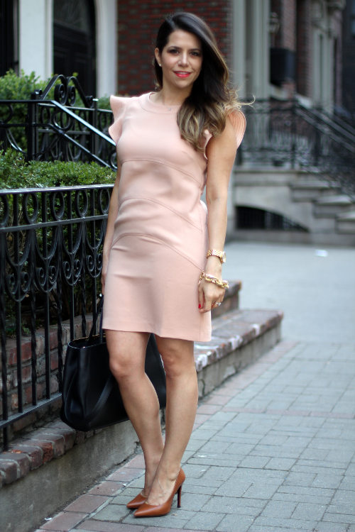 What to wear to work | Ann Taylor blush dress and gold accents ...