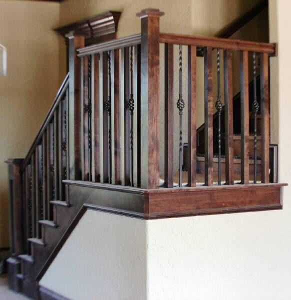 Love Combo Of Metal And Wood Balusters Craftsman Staircase Rustic Stairs Metal Stair Railing