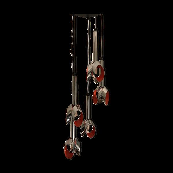 Suspension vintage Raak tulip cascade orange clair et chrome   – Products