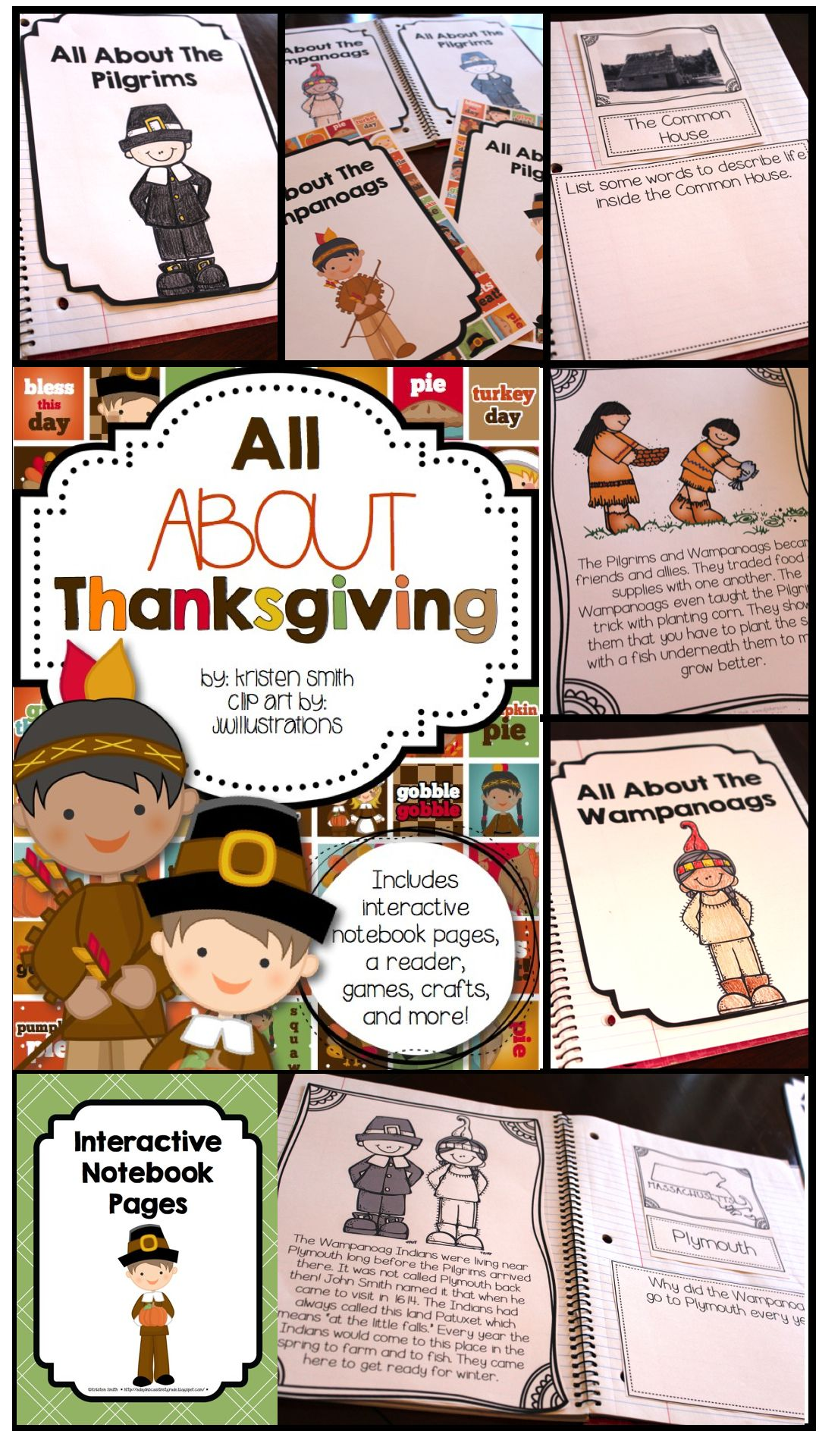 All About Thanksgiving Student Books Interactive Notebook Pages And More