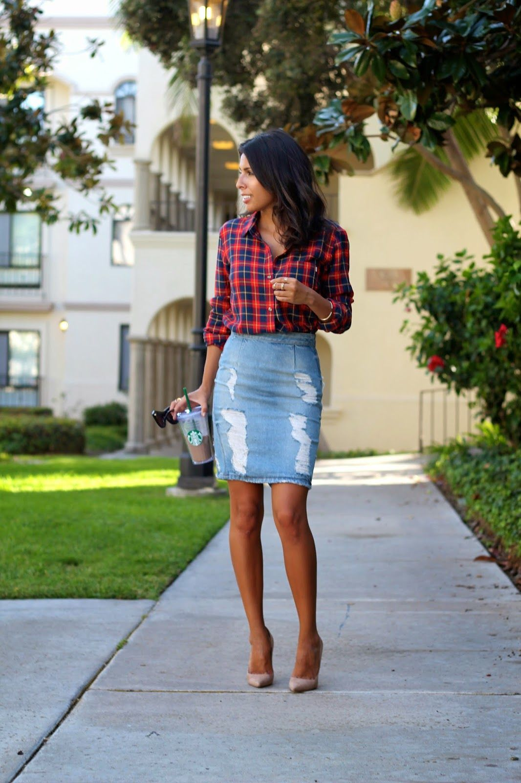 how to style flannel shirt, denim skirt | My Style | Pinterest ...