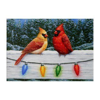 Cardinal Birds And Christmas Lights Acrylic Print Zazzle Com