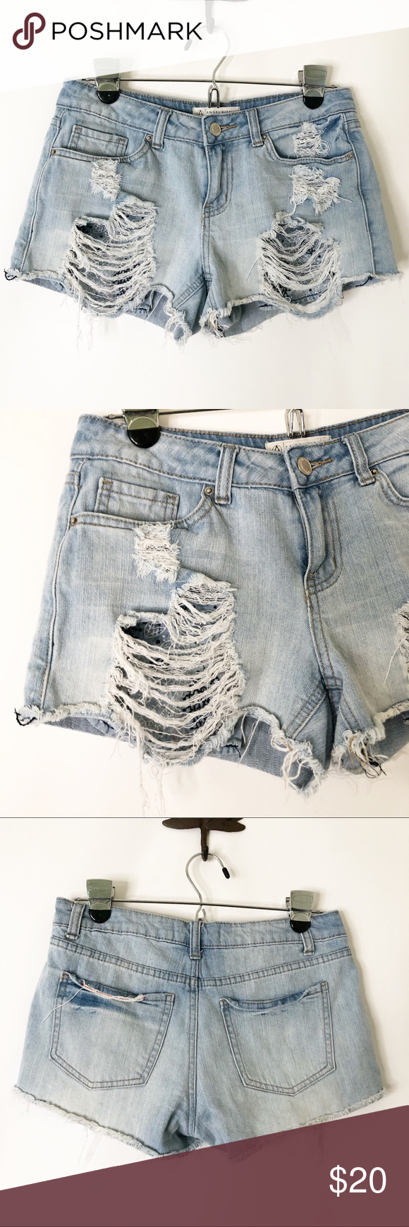 """4 for $25 ❤️ Angel Kiss distressed jean shorts 29"""" waist, 8"""" rise, 2.5"""" rise. 99% cotton, 1% Spandex.  Featured on my Instagram @relovemaui (see last pic)!  ❤️ Bundle with other items from my closet for the best deal and combined shipping! ❤️ To get 4 items for $25, look for items with the heart (❤️) in the title!  #1192 Angel Kiss Shorts Jean Shorts"""