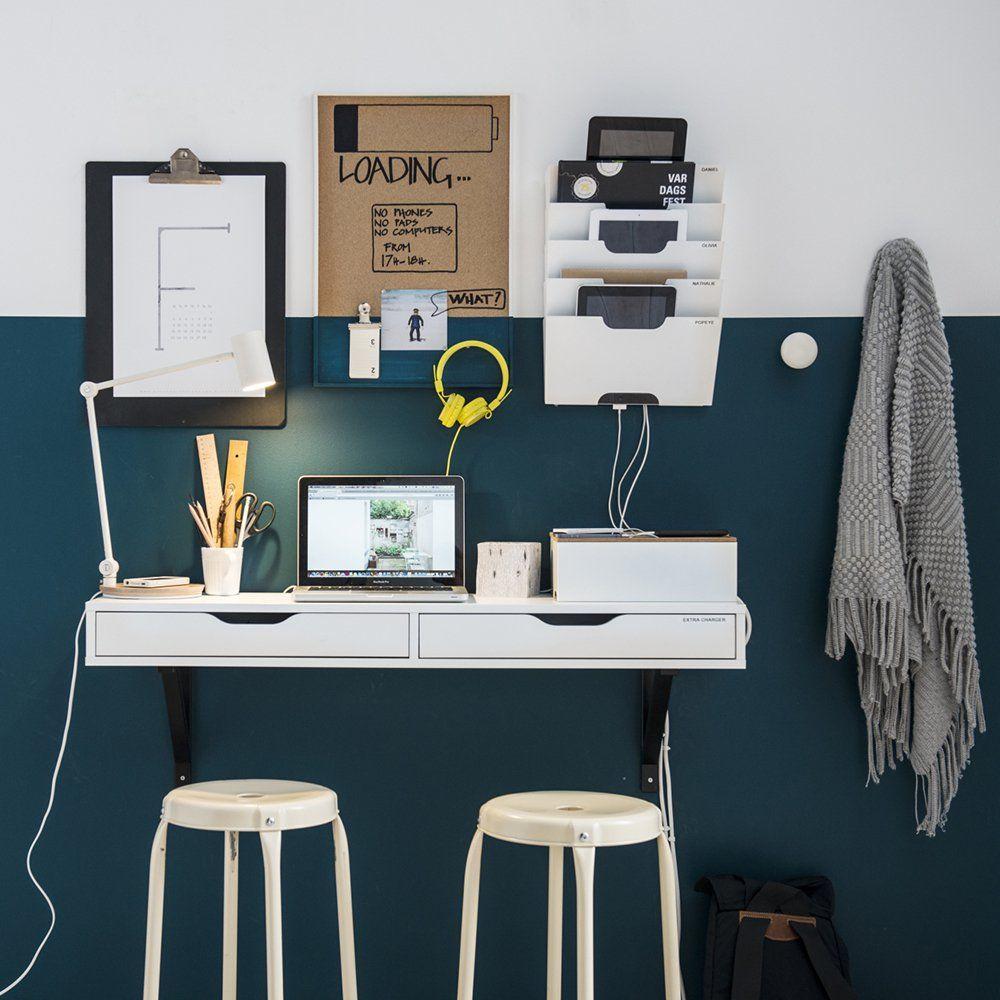bureau mural blanc ikea accrocher au mur id e de petit bureau pour petits espaces de travail. Black Bedroom Furniture Sets. Home Design Ideas