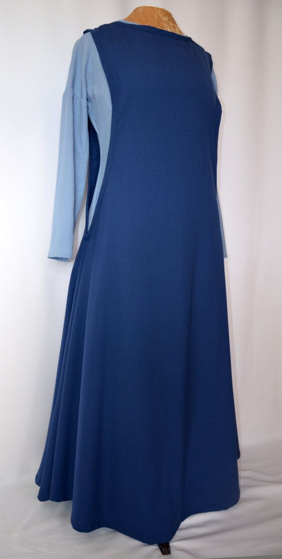 Royal blue Medieval gown, Middle Ages overdress in fine weave cotton ...