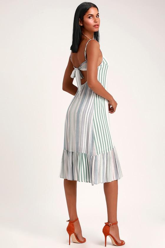 Cook Islands Sage Green Multi Striped Button-Up Midi Dress #sagegreendress