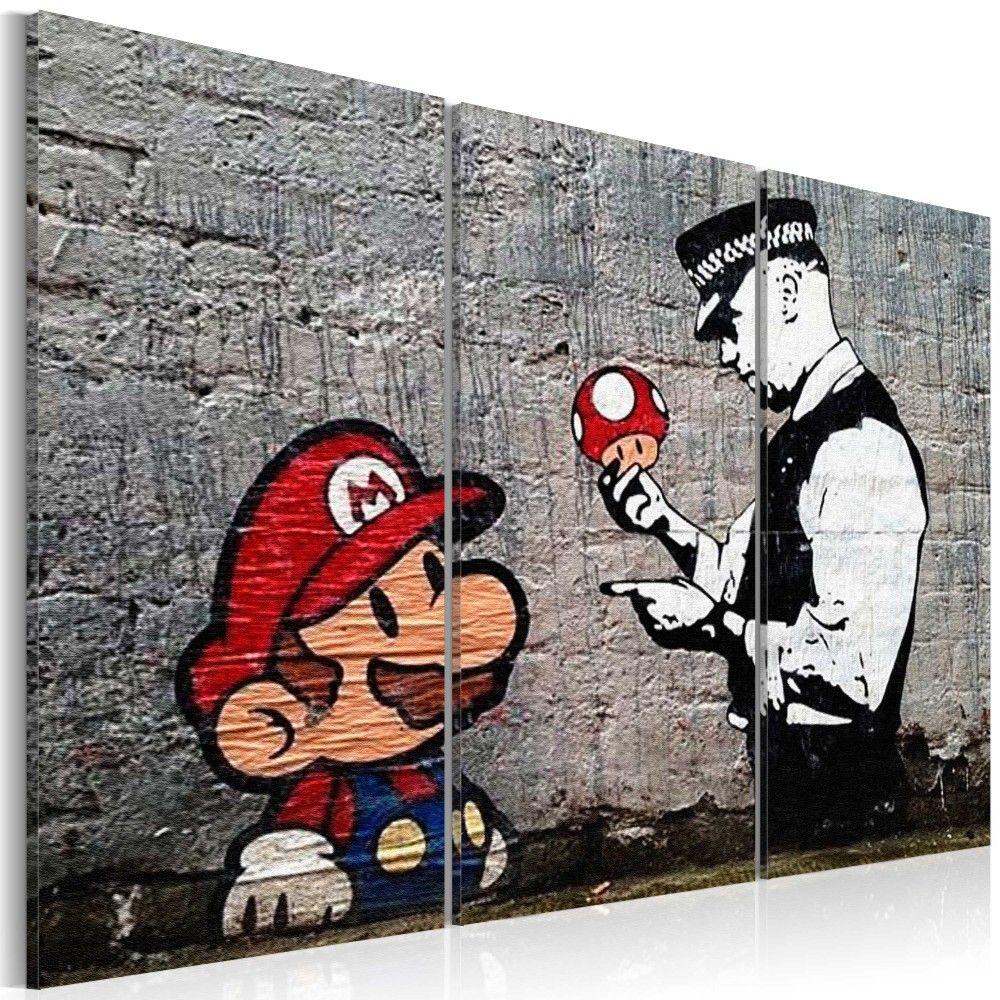 Wandbild Super Mario Mushroom Cop By Banksy Graffiti Bilder Wandbilder Straßenkunst Banksy
