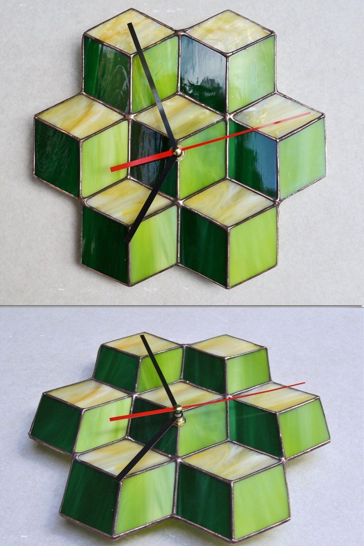 Wall Clock 3d cube green, lime, yellow - Unique Wall Clock modern geometric disign - Stained Glass - Wall Decor, hangning, art - Home decor by ZangerGlass on Etsy https://www.etsy.com/listing/205386377/wall-clock-3d-cube-green-lime-yellow