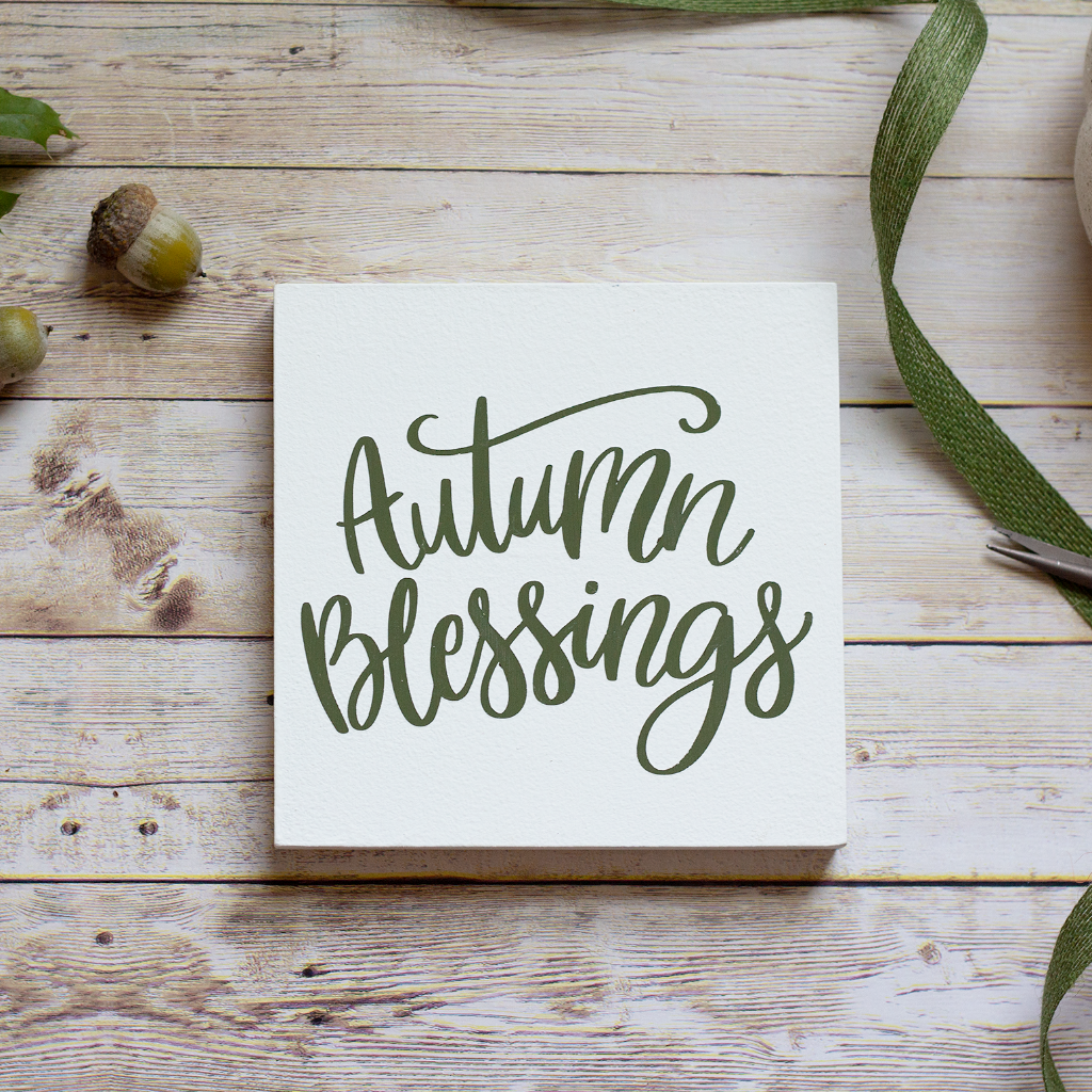 Olive Green Wall Decor Autumn Blessings Wall Sign Rustic Wall Decor Fall Home Decor