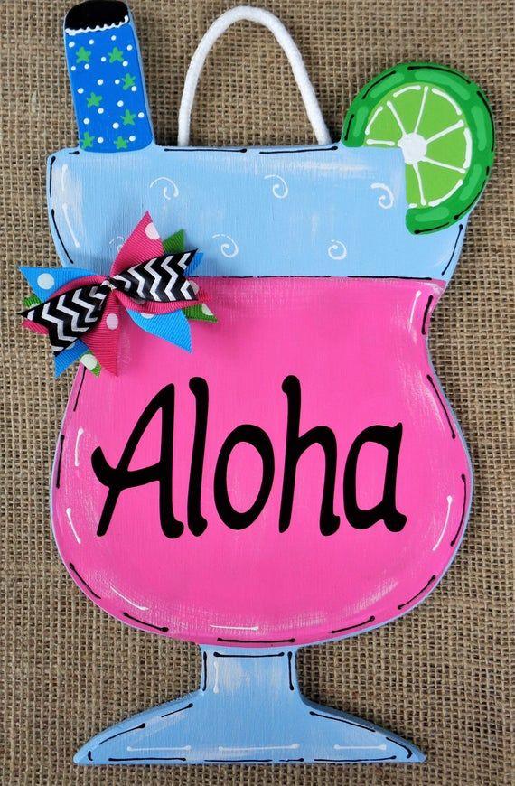 Photo of Aloha TROPISK DRIKKSIGNEL Sesongmurt veggplate Hjem Familiedekk Dekk Patio Dør Sommer Håndlagd Håndmalt tre Tredørhenger