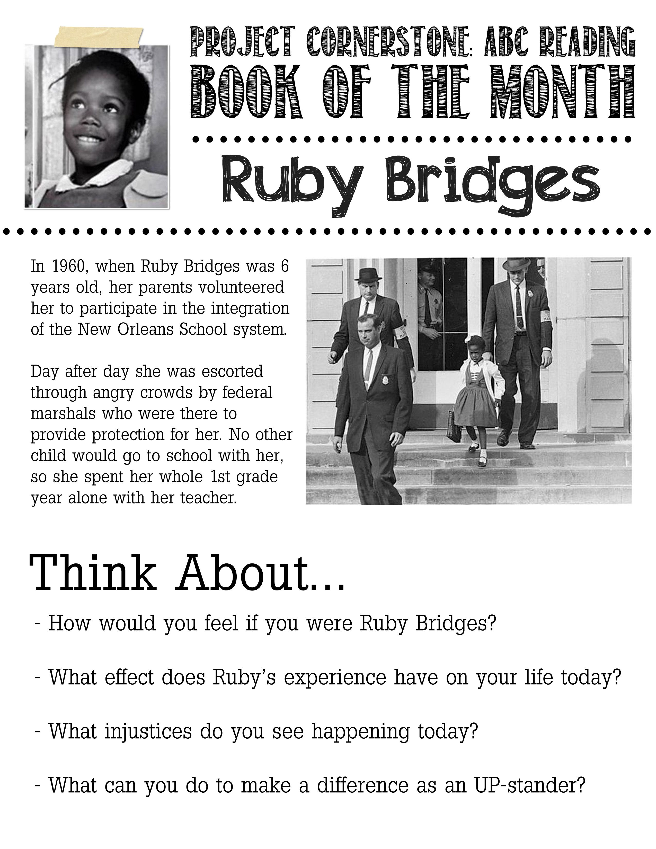 projectcornerstoneOne of our volunteers made this flyer – Ruby Bridges Worksheet