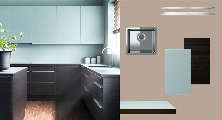 Faktum kitchen with gnosjÖ black wood effect doors drawers and