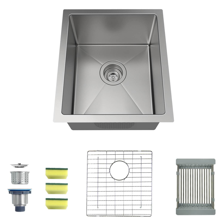 Mensarjor 15 X 17 Undermount Single Bowl Kitchen Sink Undermount Stainless Steel Sink Stainless Steel Sinks Single Bowl Kitchen Sink