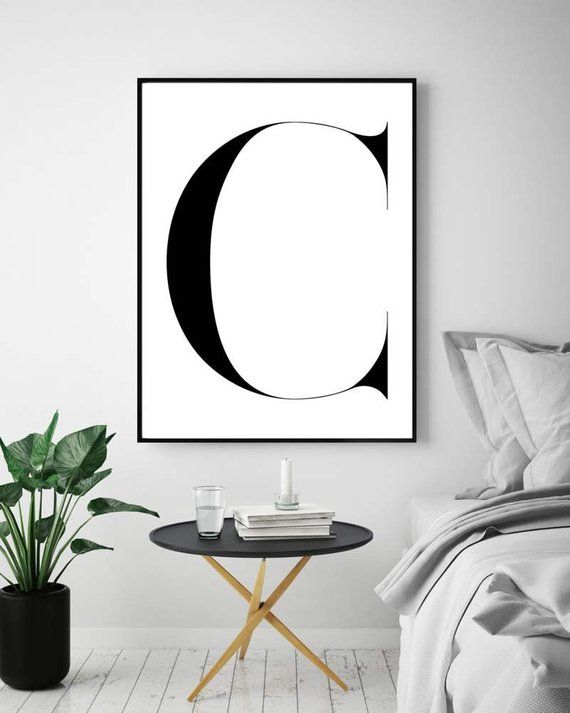 Wall Art Letter C, C Print, Letter C Printable, Monogram Art