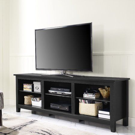 Walker Edison Wood Tv Media Storage Stand For Tvs Up To 78 Black Walmart Com Saracina Home Tv Stand With Storage Tv Stand
