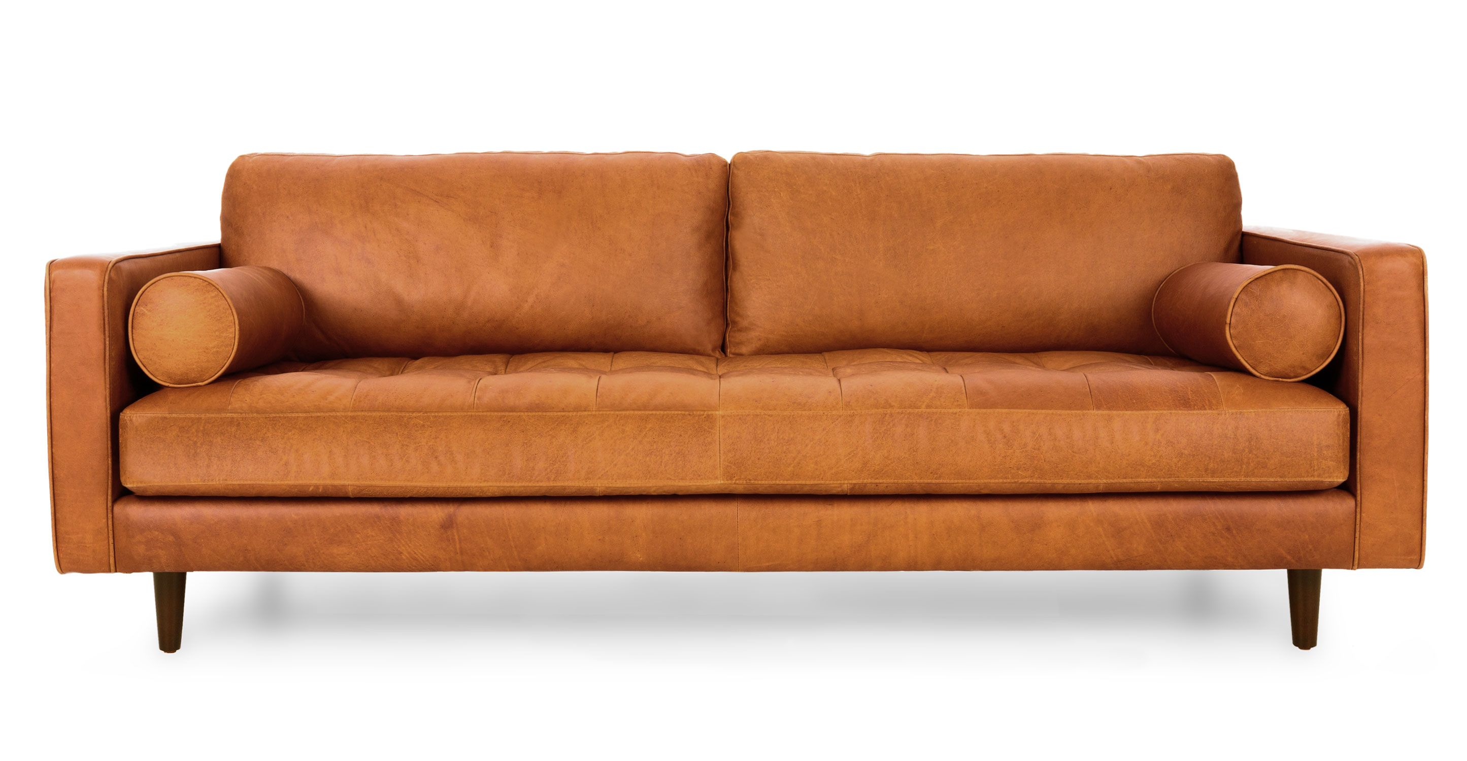 Tan brown leather sofa italian leather article sven for New mid century furniture