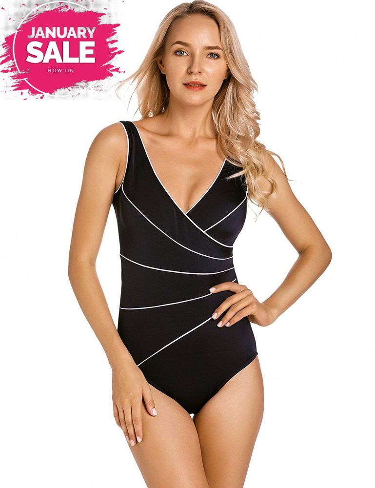 DELIMIRA Women/'s Slimming One Piece Piped Plus Size Swimsuit Bathing Suit