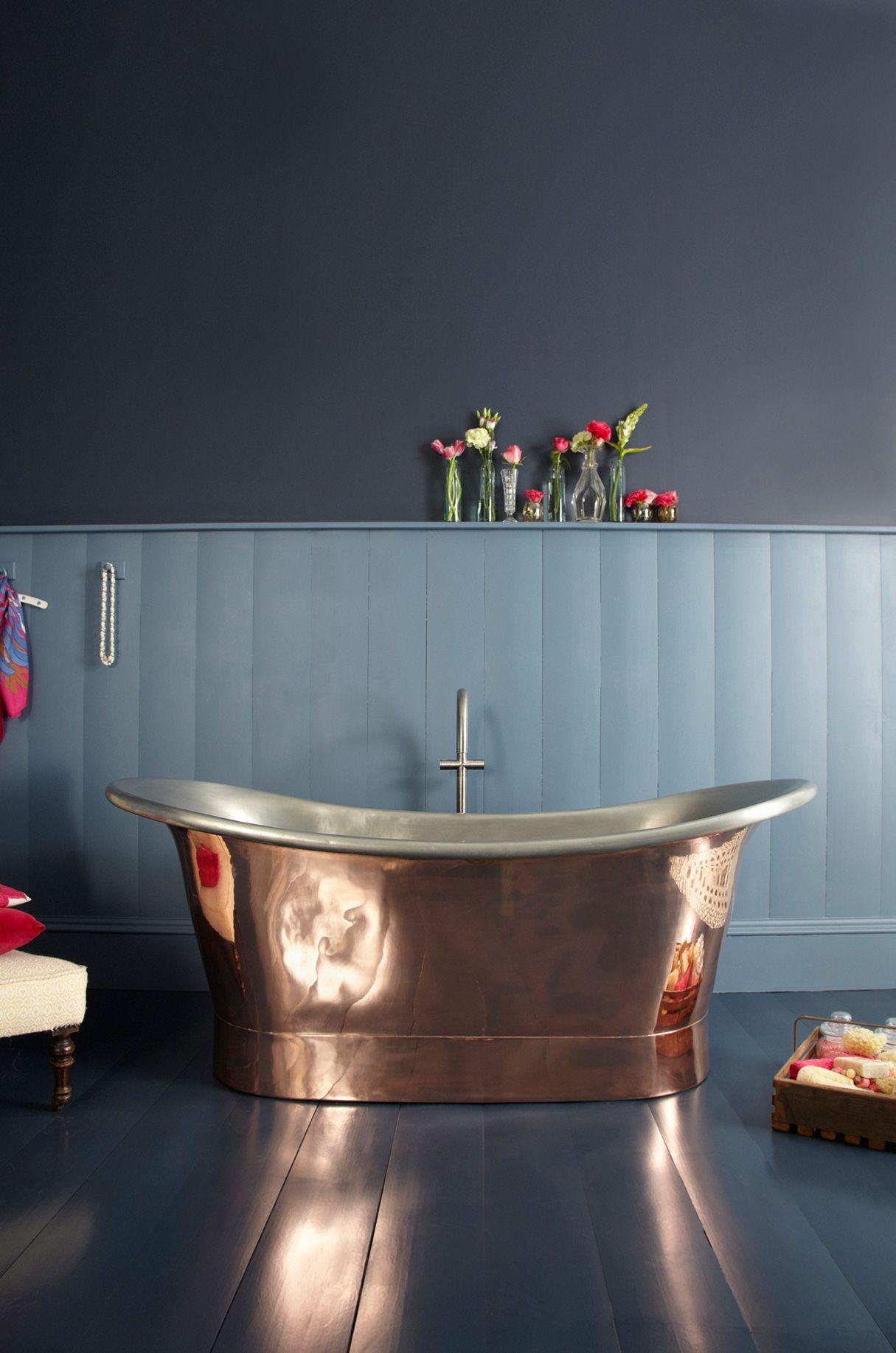 The Marseille Copper Bateau Bath with Tin Inner