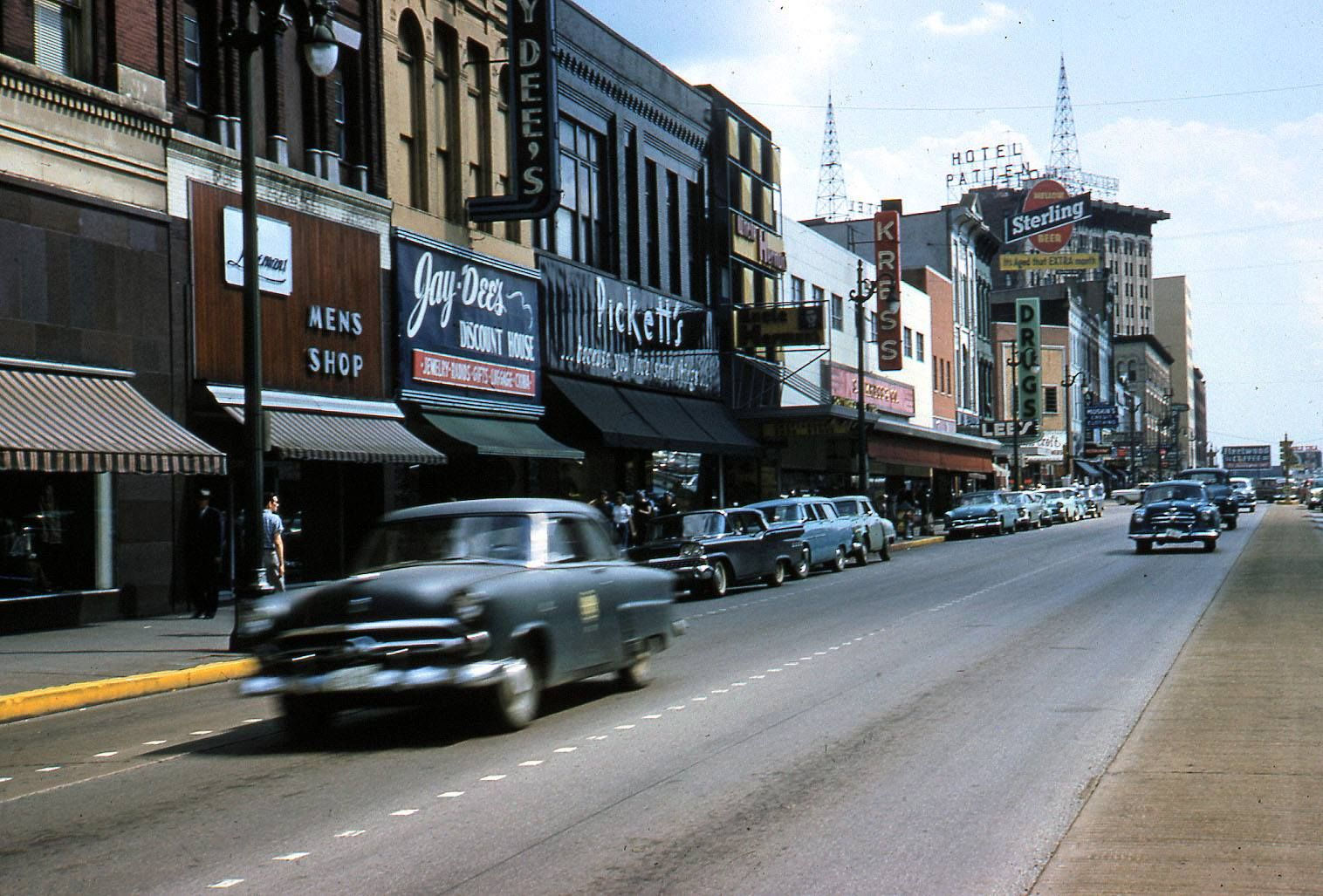 View Of Market Street In 1960 Visible Are The Hotel Patten With