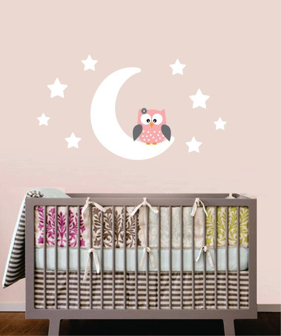 Owl wall decal owl moon and stars childrens by for Stickers habitacion bebe