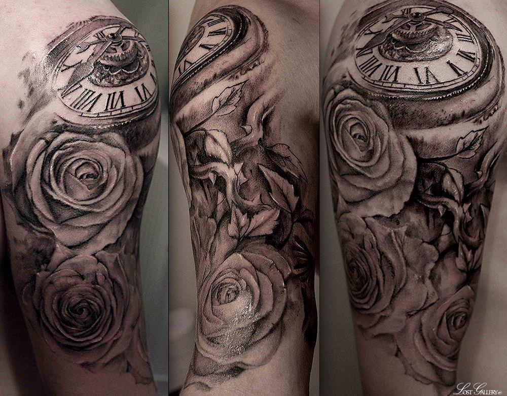 5c07cc56e3859 Clock and Rose tattoo | Tats and designs | Watch tattoos, Tattoos ...
