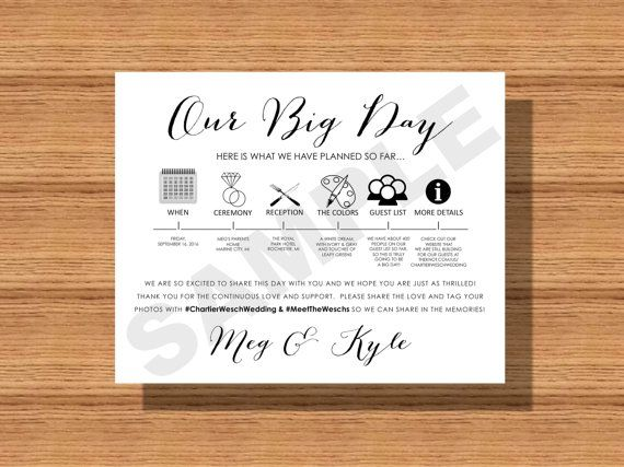 our big day wedding day itinerary card wedding day information for