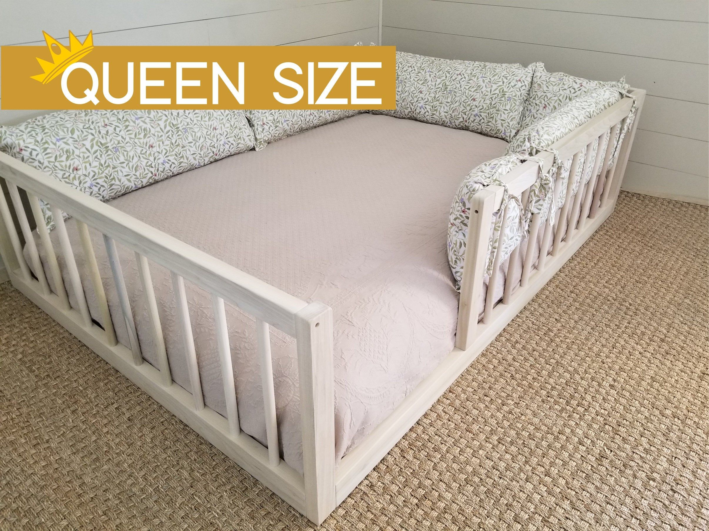 New Queen Montessori Floor Bed With Rails Floor Bed Hardwood Made