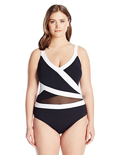 anne cole womens plus size mesh over the shoulder one piece
