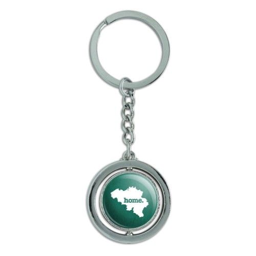 Belgium Home Country Spinning Circle Metal (Grey) Keychain Ring - Textured  Teal, Men s 033f6f70cde