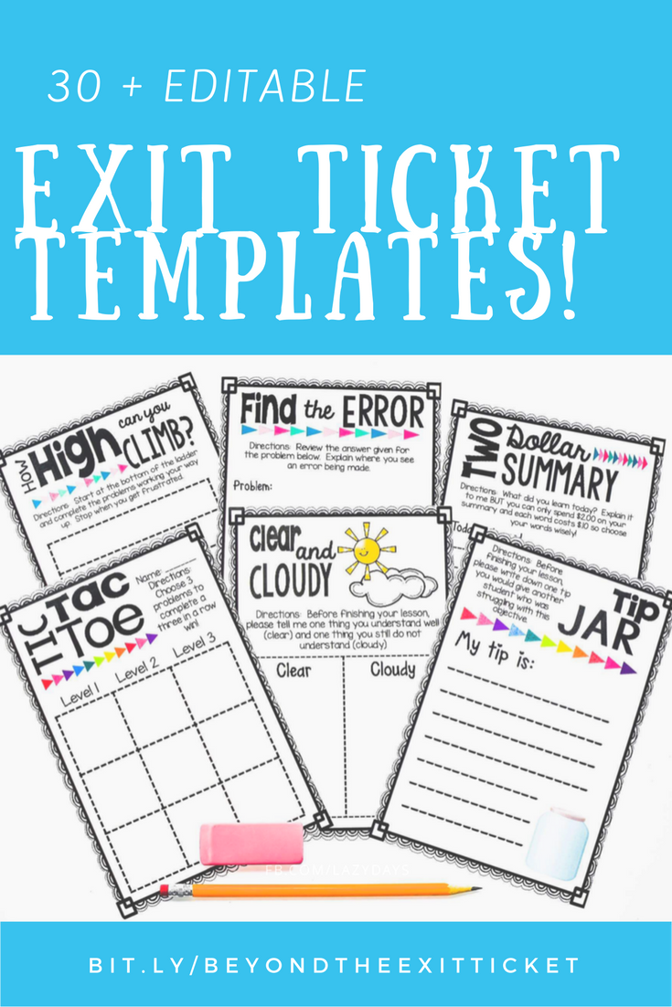 Editable Lesson Closure Templates | Boletos de salida, Boleto y Salidas