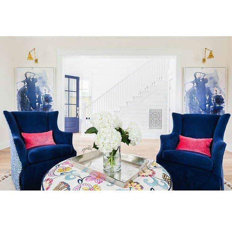 Bold Blue Living Room design by Andria Fromm of Redo Home and ...