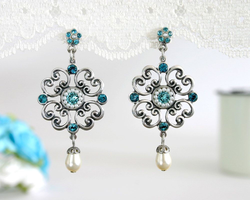 Blue wedding earrings Wedding earrings Blue earrings Blue wedding