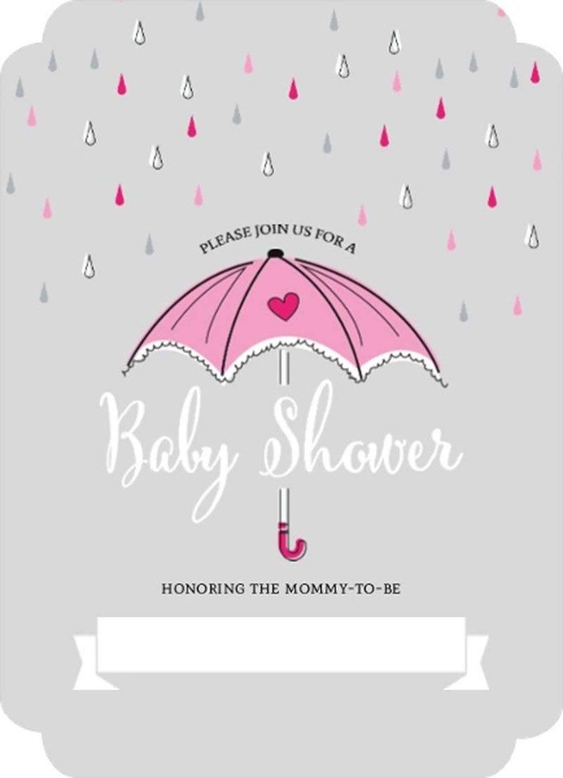 Interesting Pink Umbrella and Rain Drops Fill In Blank Baby Shower ...