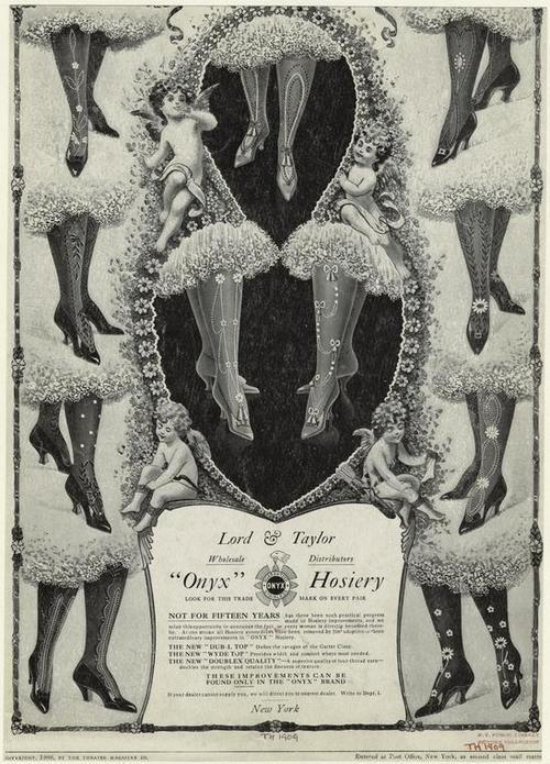 extranuance:    edwardianera:    1909. Onyx hosiery.