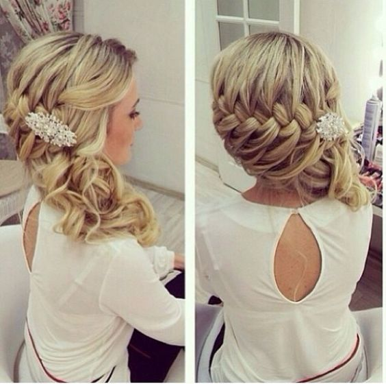 Side Swept Waterfall Braided Curls Stunning Wedding Hair Ideas To