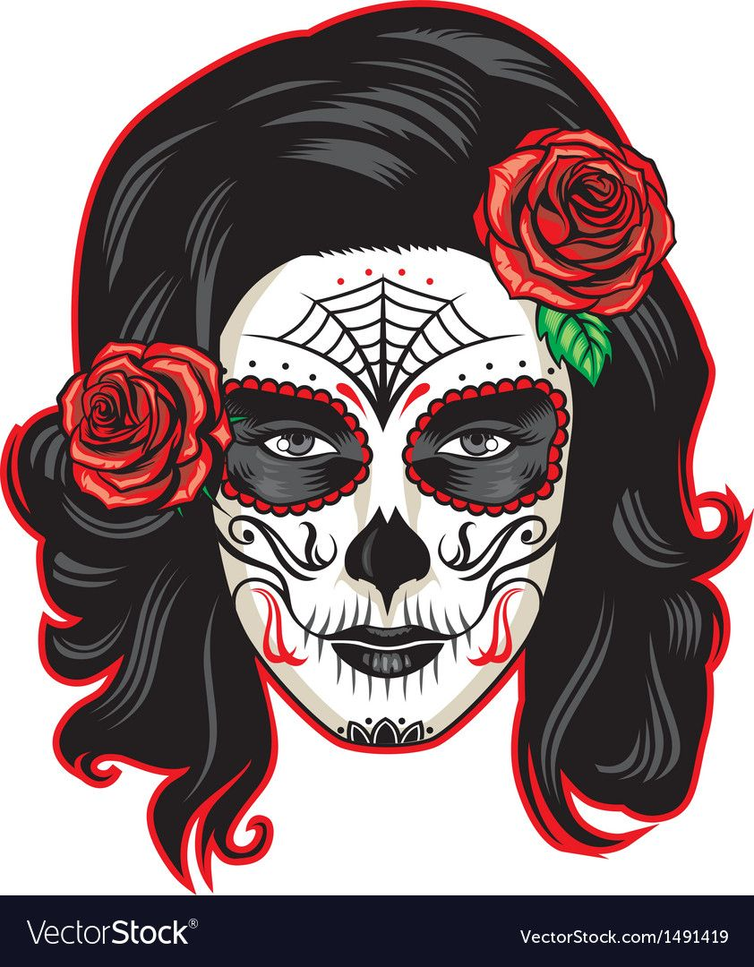 vector of day of the dead girl with sugar skull makeup
