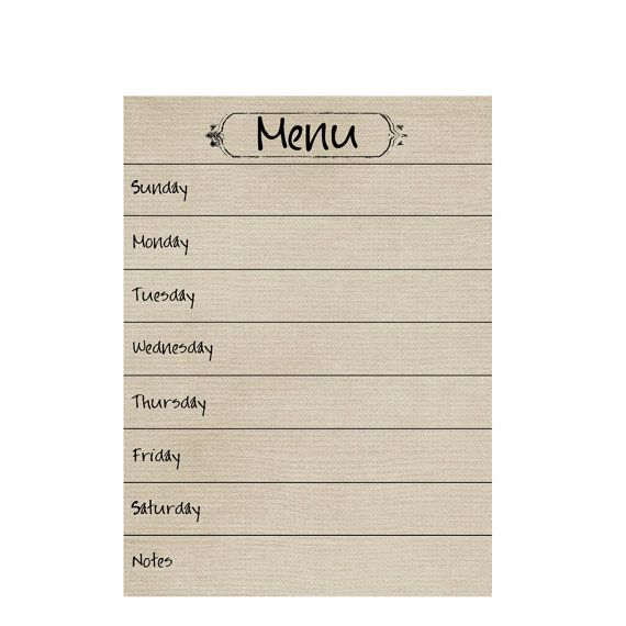 Dry/Wet Erase MENU PLANNING MAGNET.  7 x 9 1/2 inches.  Set of 2.  Tan Owl Color. on Etsy, $12.00