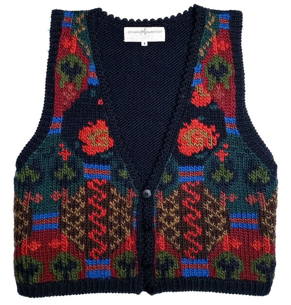 Peruvian Connection Hand Knit Vest Art to Wear Merino Wool *EXCELLENT* Sz Small #PeruvianConnection #VestSleeveless
