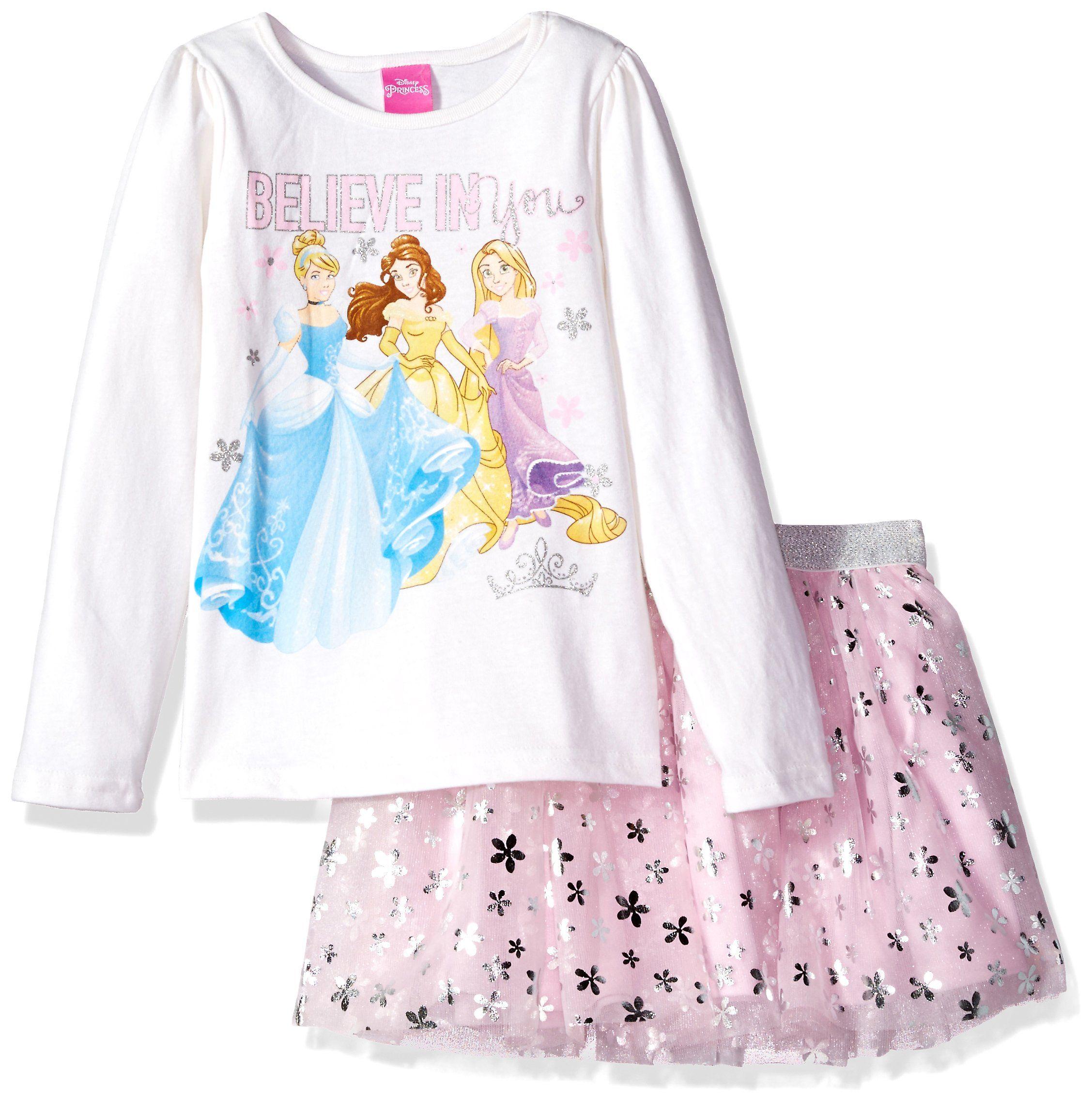 4e2cfe72 Disney Little Girls' Princess Skirt Set, Eggshell, 5. Official Disney  licensed merchandise